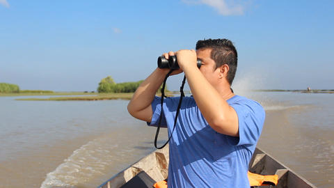 Boat trip through the bird swamps Footage
