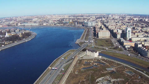 Flying near of River Neva in Center Saint-Petersburg Footage