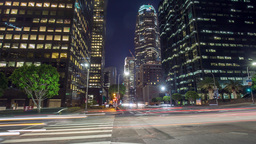 Los Angeles Downtown Night Time-lapse Office Building stock footage
