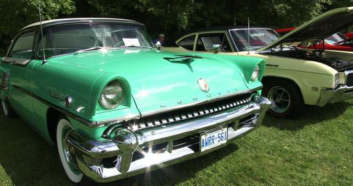Vintage Mercury car at show Footage