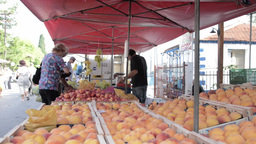 People At Fruits Marketplace stock footage
