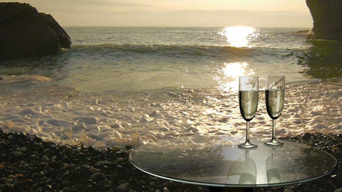 Two Glasses Near The Sea, Camping By The Sea stock footage