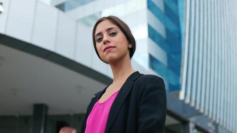 Portrait Young Business Woman Arms Crossed Smiling Footage