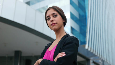 Portrait Young Business Woman Arms Crossed Smiling Stock Video Footage