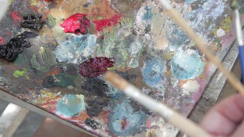Oil painting on canvas 02 Footage