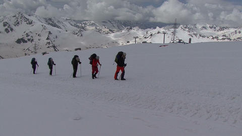 in the mountains Elbrus. rock climbing Footage