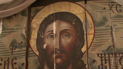 Icons And Frescoes Of The Orthodox Church stock footage