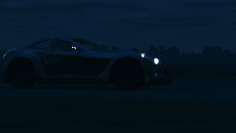 Silver Sports Car driving through the Night Animation