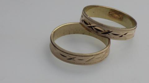 Gold wedding rings 01 Footage