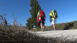 Pilgrim on the Camino de Santiago 25 Footage