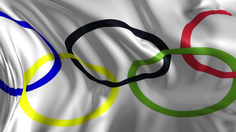 Flag of the Olympic Games Stock Video Footage