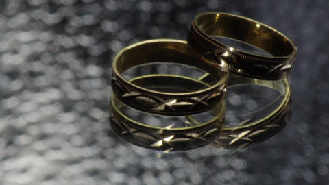 Gold Wedding Rings 03 stock footage