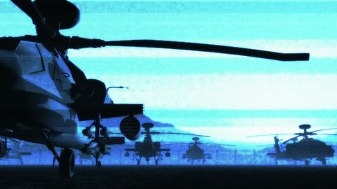 Apaches Base 04 dolly bad signal blue Stock Video Footage