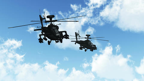 Apaches Flying 01 day Stock Video Footage