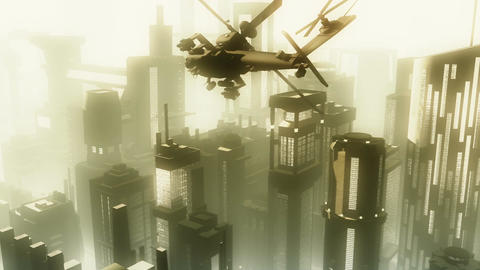 Apaches in City 02 morning haze Stock Video Footage
