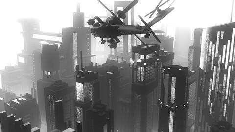 Apaches in City 04 BW art Animation