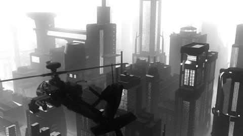 Apaches in City 04 BW art Stock Video Footage