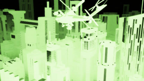 Apaches in City 06 nightvision Stock Video Footage