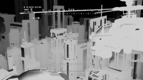 Apaches in City 08 nightvision apache monitor Stock Video Footage