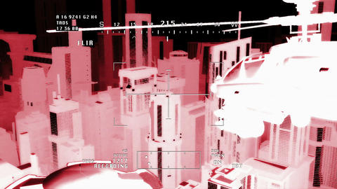 Apaches in City 10 nightvision apache monitor Stock Video Footage