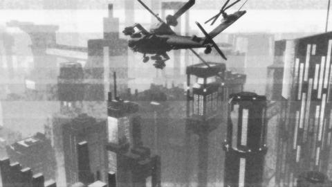 Apaches in City 14 bad bw signal Stock Video Footage