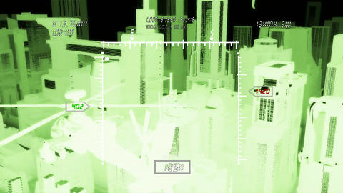 Apaches in City 12 nightvision military monitor Stock Video Footage