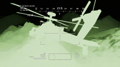 Apaches in Mountains 13 nightvision apache monitor Stock Video Footage