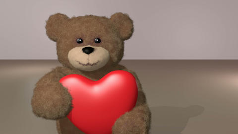 teddy giving heart, with alpha channel Stock Video Footage