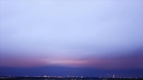 City Clouds Dusk Timelapse Stock Video Footage