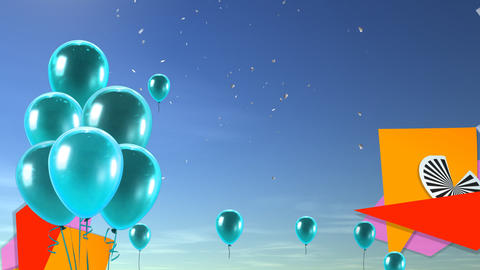 balloon background sea blue Stock Video Footage