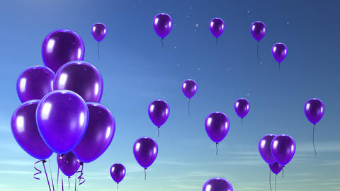 balloon up to sky purple Stock Video Footage