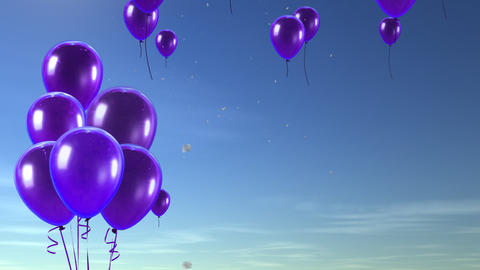balloon up to sky purple Animation