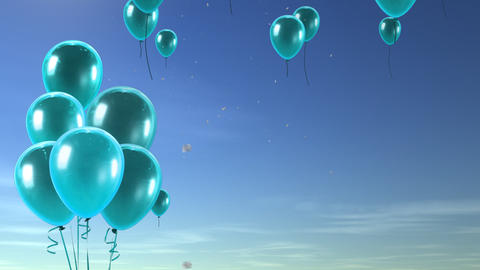 balloon up to sky seablue Animation
