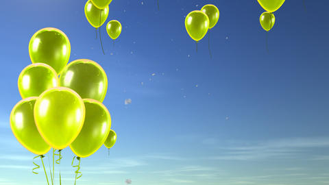 balloon up to sky yellow Stock Video Footage
