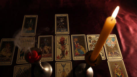 Candles Tarot Cards 03 Stock Video Footage