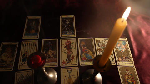 Candles Tarot Cards 03 Footage