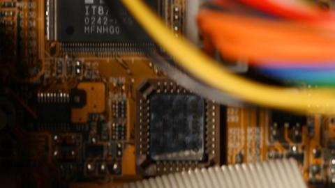 Desktop Computer Inside 08 pan up Stock Video Footage