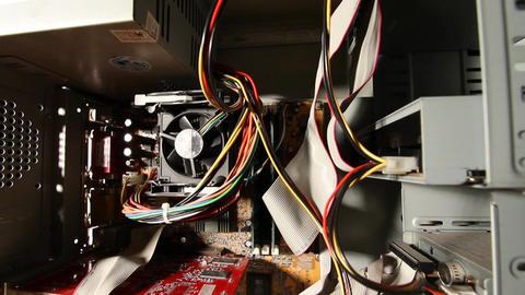 Desktop Computer Inside 15 wideangle pan down Stock Video Footage