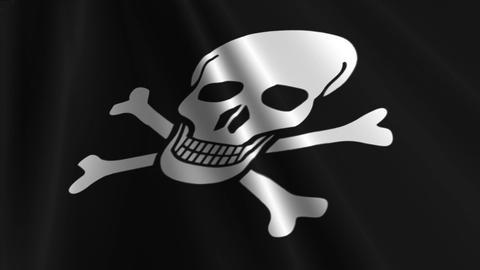 Pirate Flag Loop 03 Stock Video Footage