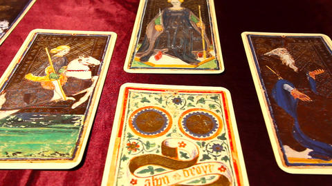 Tarot Cards 02 dolly left Stock Video Footage