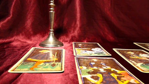 Tarot Cards 04 dolly right Stock Video Footage