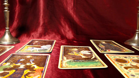 Tarot Cards 04 dolly right Footage