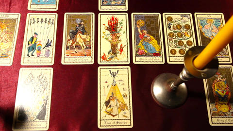 Tarot Cards Candles 01 dolly right Stock Video Footage