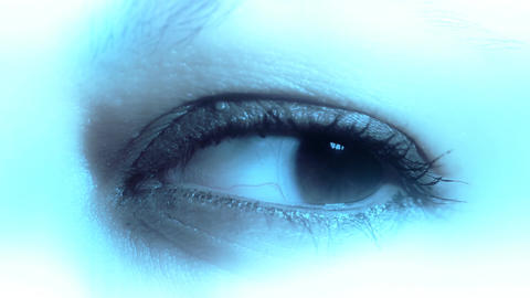 Caucasian Women Eye with Contact Lens 02 Stock Video Footage