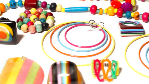 Colorful Plastic Jewellery 06 pan left Footage