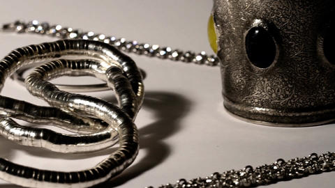 Silver Jewellery 01 dolly left Stock Video Footage