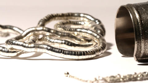 Silver Jewellery 03 dolly right Stock Video Footage