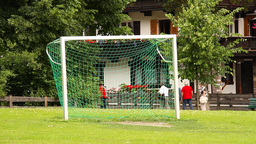 Small Soccer Post and Seniors Walking Stock Video Footage