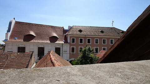 Old European Village 05 rooftops Stock Video Footage