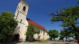 Old European Village 11 church pans Footage